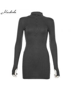 Turtleneck Dress Ribbed Knitted Bodycon Slim Macheda Autumn Black Winter Fashion Casual-Gray-L
